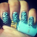 Blue Zebra Print Nails :)