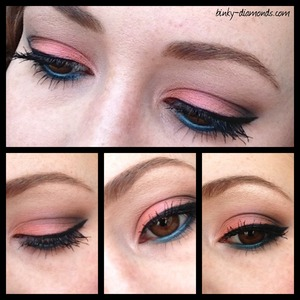 Peach and teal eyeshadow combo with brown outter V.