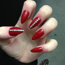 Stiletto Red Diamond Nails
