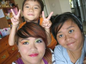 old sis and half bro! rainbow eyes and red lips! bold look :D