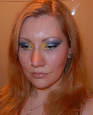 blue with yellow popping in the corner