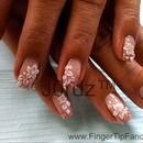 3D white pointed flower nails
