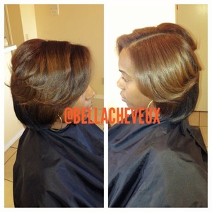 Press and flat iron on natural hair... Color done by me as well at a previous date