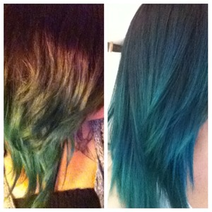 Teal touch up before and after.