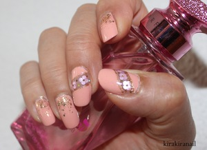 """Products I used: """"Base Coat"""" by Canmake Jewel Glitter Nail 02 by Canmake """"glamour"""" (680) by p2 """"Gel Volume Top Coat"""" by Canmake"""