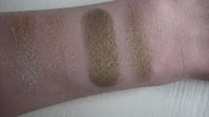 Close up of MAC's:   Gallery Gal (dry, wet) and Bright Side (dry, wet)