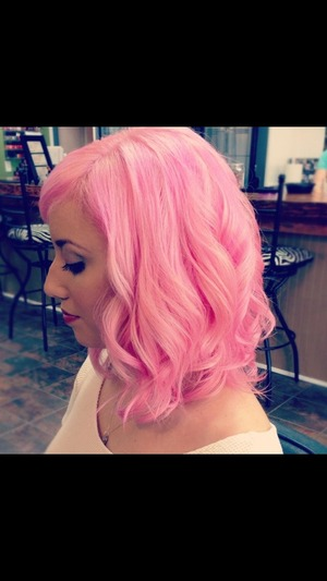 My hair was bleached before we colored it pink. We used Scruples color line!