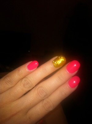 Oval shape, with pink and gold :-)