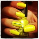 Neon Yellow with a Blue Dotted Accent