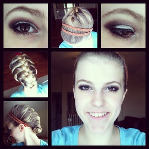 Hotd: French braid tucked under with 2 braided headbands. Makeup-silver and dark brown smoky eye