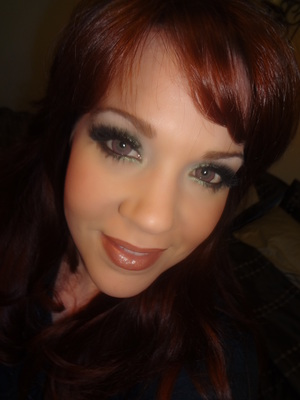 Green Glittery Eyes! :-) (with fun pink circle lenses. Creepy and fantastic.  Just like me!!)