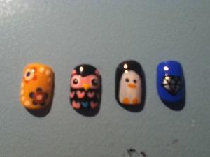 Flowers, Owls, Penguin, Diamond