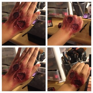 #scary #forhalloween very easy to do just use glue n fake blood wit dark red eyeshadow,n just a lil of black shadow
