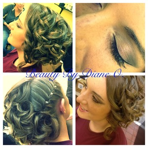 Hair updo and makeup styled by myself
