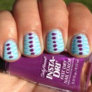Stamped and Dotted Turquoise and Purple Nails