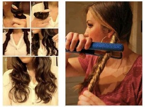 Twist your hair hold it and then put your straightener on it