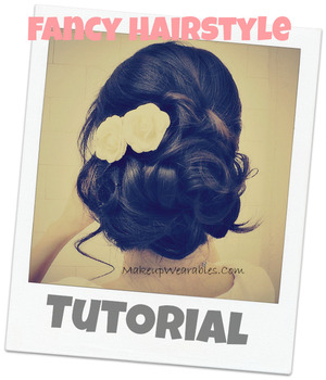 http://www.makeupwearables.com/2013/01/how-to-easy-wedding-hairstyles-tutorial.html  Easy, step-by-step,  fancy, elegant, and romantic prom / wedding hairstyles with curls, instructional, 2013, hair tutorial video,  made for medium hair and for long hair.   Learn how to do a bridal, party style hairdo on your own hair!   Youtube Vid: http://youtu.be/wt96nnXSjjA