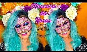 🌹Mascara de ROSAS 🌹/ Halloween makeup  auroramakeup