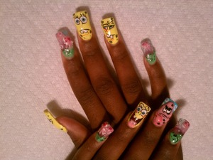 3D SpongeBob nails that I did for my oldest sister a couple of years ago.