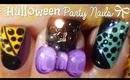 Easy Halloween Party Nail Art Design (using tape and ♡ 3D bow)
