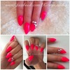 Bright Pink Stiletto Nails