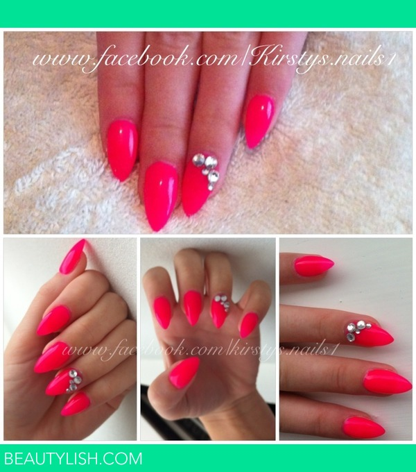 Stiletto Nail Art With Diamonds: Bright Pink Stiletto Nails