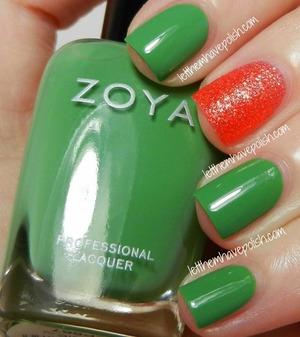 Zoya Josie- Green Zoya Destiny- Hot Coral texture