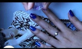 Space blue nails tutorial