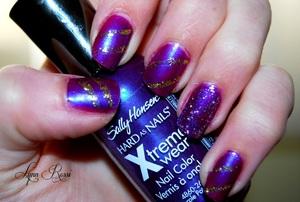 My simple Mardi Gras nails.