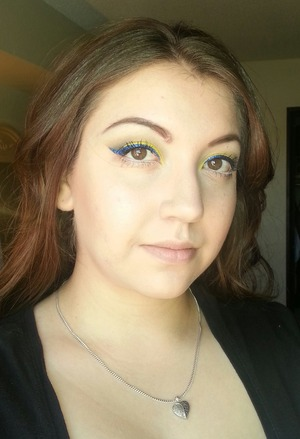 Yellow smokey with blue winged liner :)) Love this look!