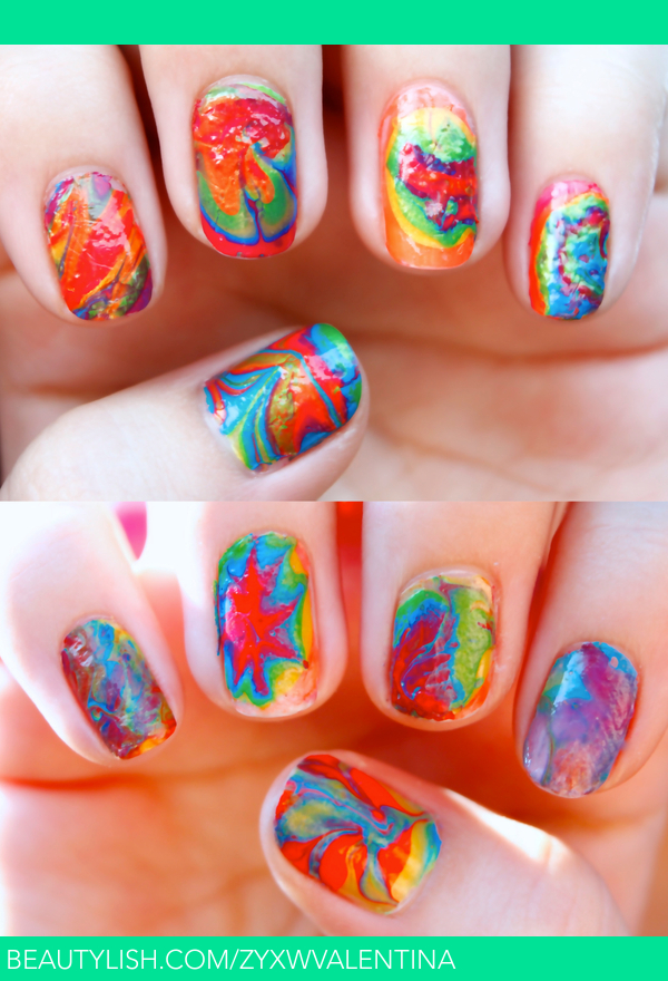 Tie Dye Marble Nails | Valentina R.\'s (zyxwvalentina) Photo | Beautylish