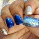 blue glitz prom nails