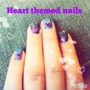 Heart themed nails