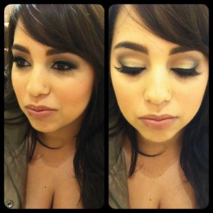 makeup on a client for her photo shoot.