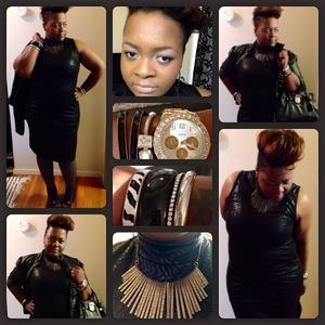 Black Pleather Jacket- Dots Black Pleather Dress- Dots Necklace- Dots Bangles- Torrid  Watch- Dots  Bracelet-Pandora Handbag-Michael Kors