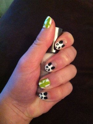 Panda Nails - inspired by Nikki E's tutorial!