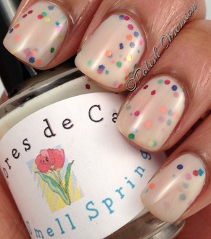 Yellowish/nude jelly base with multi colored glitter reminiscent of spring.