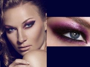 purple shimmer eye, purple smoky eye, nude lip