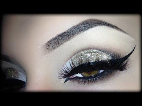 Sexy Arabic Christmas Makeup Gold Glitter Elegant Cat