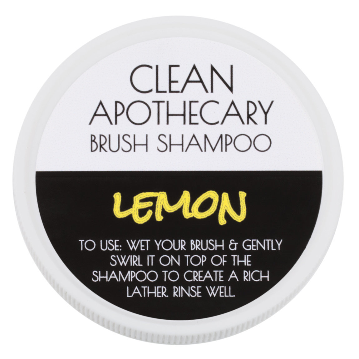 Clean Apothecary Brush Shampoo Lemon product swatch.