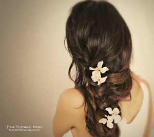 Learn how to make a romantic, side-swept, cascading French braid on yourself, for medium, or long hair.   