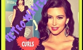 ★KIM KARDASHIAN VINTAGE HAIR TUTORIAL |HOW TO CURL YOUR HAIR WITH STRAIGHTENER  FOR PROM |GIVEAWAY