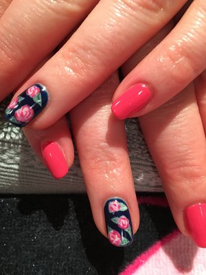 Pretty floral nails, Pink, with navy accent nail with pink roses 💕🌸