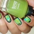 Green matte nail art