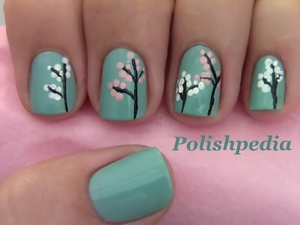Cherry Blossoms!!!! These are really easy to do.  Video Tutorial: http://www.polishpedia.com/japanese-cherry-blossom-nail-art.html