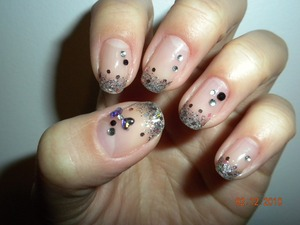 Black, silver & pink sparkle with gems