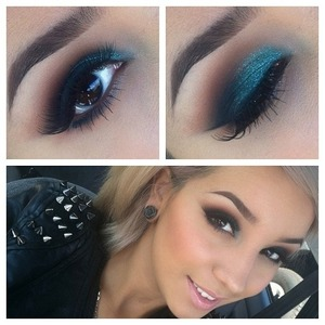 Follow her on IG: @audreyxotutorials Using Undercurrent pearl glide eye pencil and Teal pigment on top, Brown Script and Carbon
