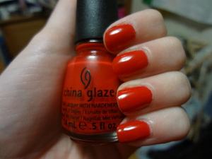 China Glaze Poinsettia from the 2011 Let it Snow collection. A perfect red jellish creme! 3 coats to get rid of a VNL.