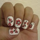 With nails with flowers