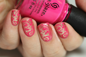 China Glaze Escape Reality stamped with Essie Good As Gold, Dashica Big SdP-F stamping plate